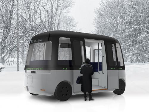 MUJI und die Sensible4 hat Gacha, den ersten autonomen pendelbus der Welt für alle Wetterverhältnisse entwickelt